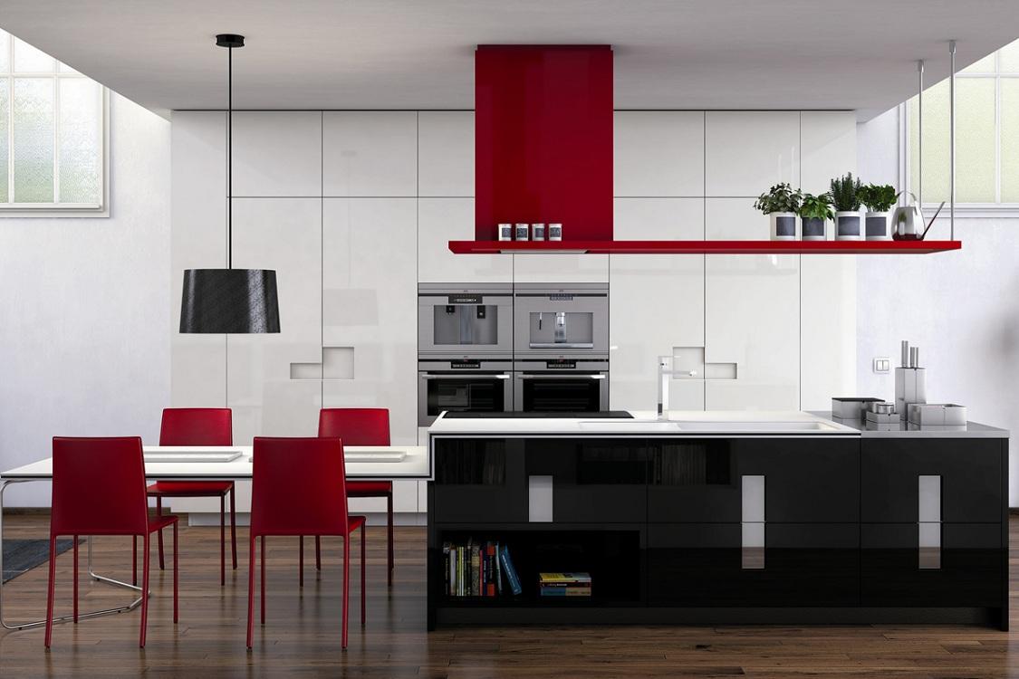 Черно-красная кухня в сочетании с белым цветом