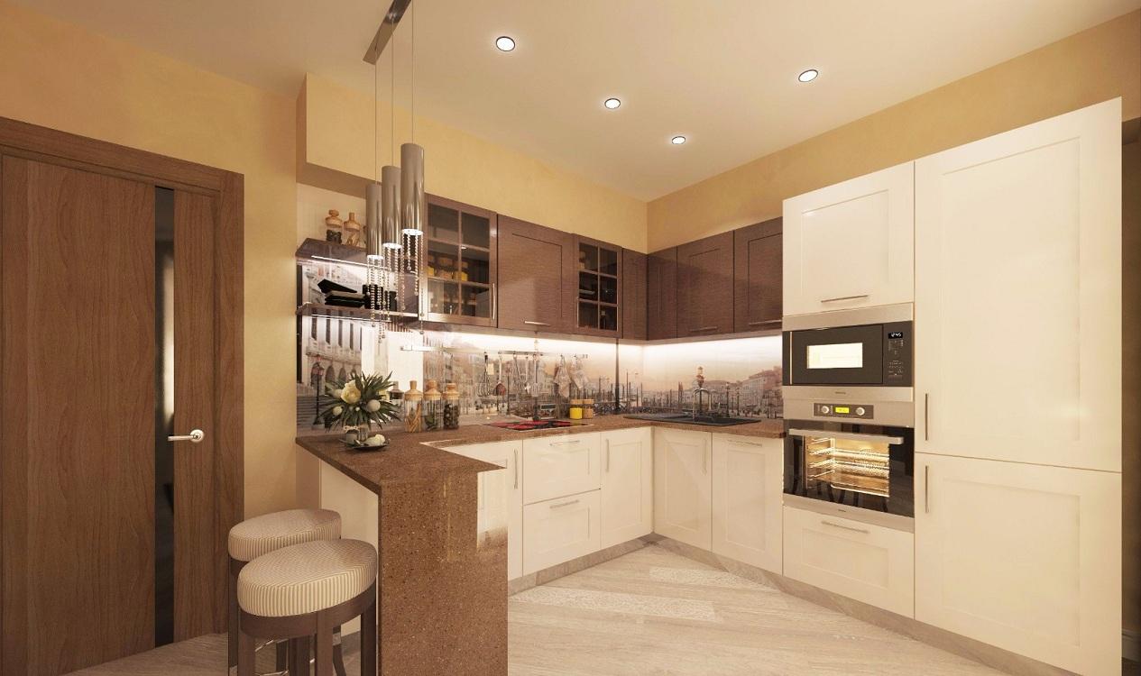 Двери на кухне цвета капучино