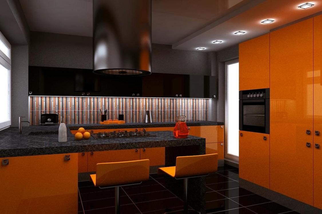 Фартук на оранжевой кухнеjpg