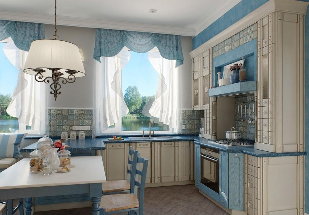 Голубая кухня в сочетании с бежевым цветом