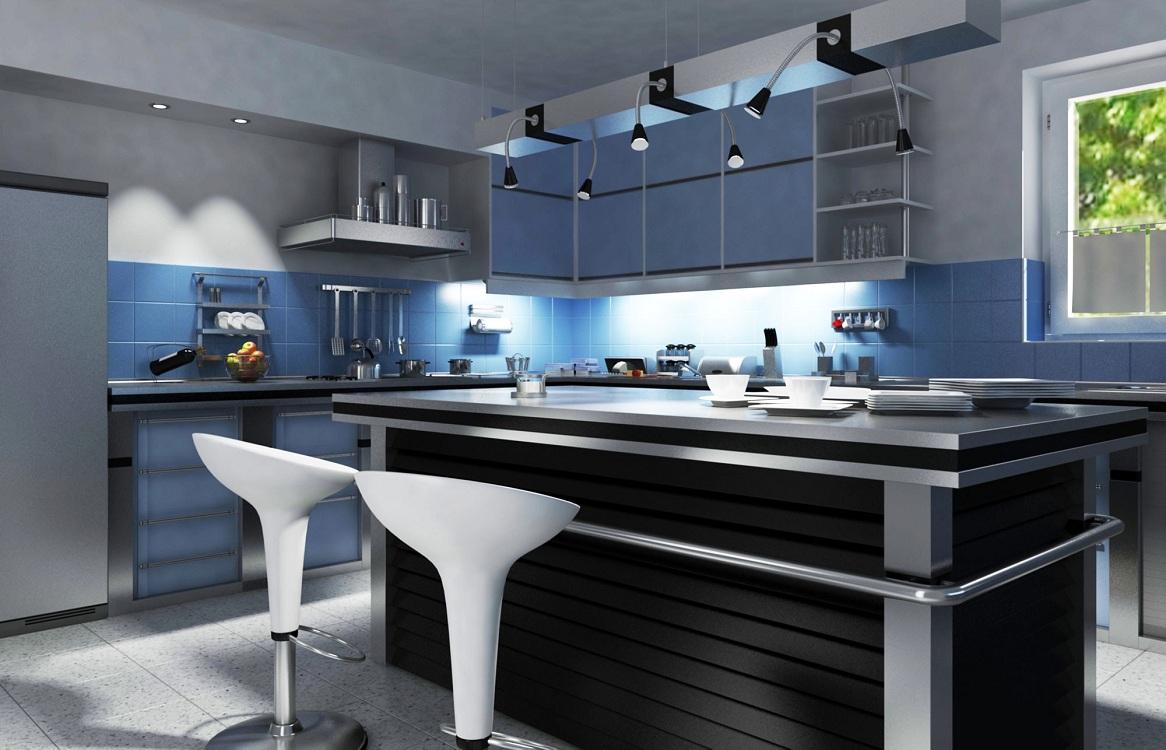 Голубая кухня в сочетании с черным