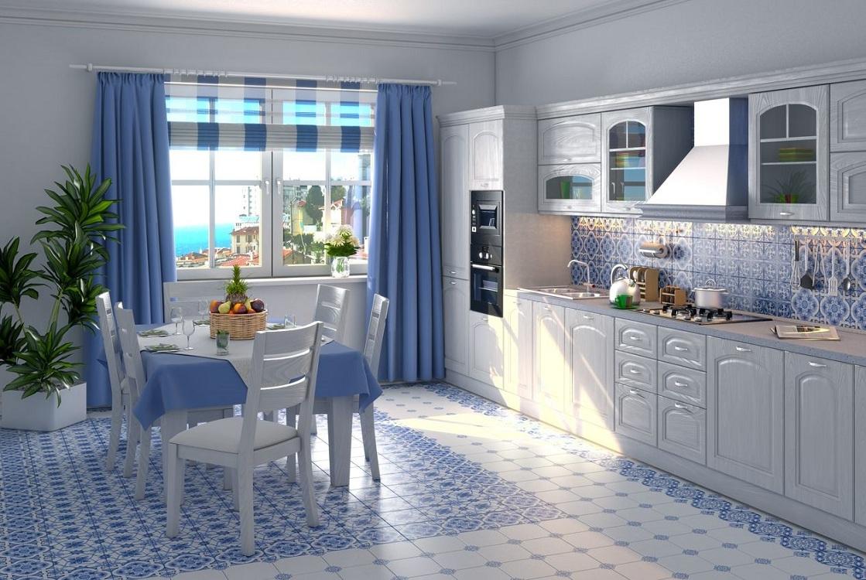 Голубая кухня в сочетании с серым цветом