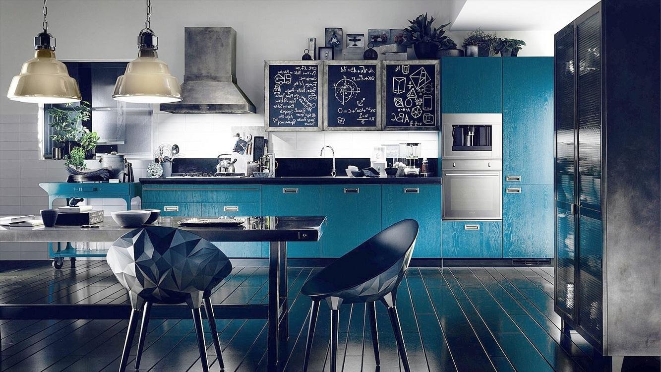 Голубая кухня в сочетании с синим цветом