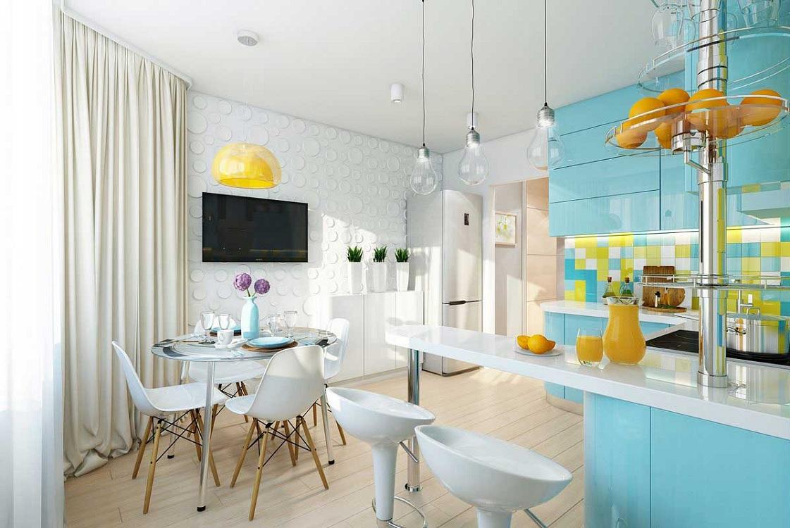 Голубая кухня в сочетании с желтым цветом