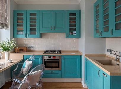 Кухни голубого цвета: 24 фото в интерьере