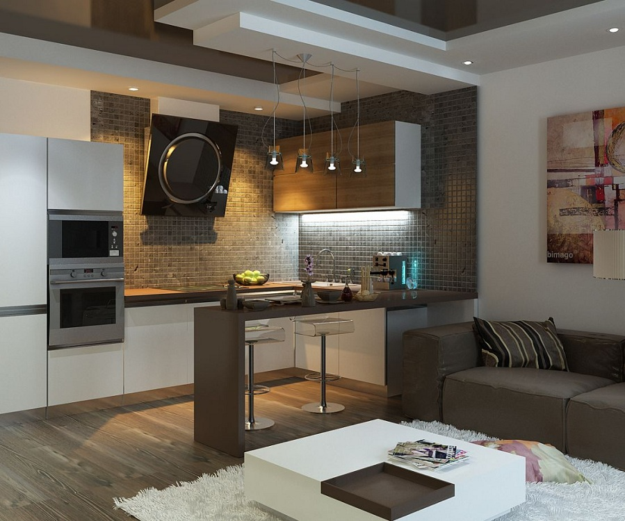 Интерьер кухни 14 метров