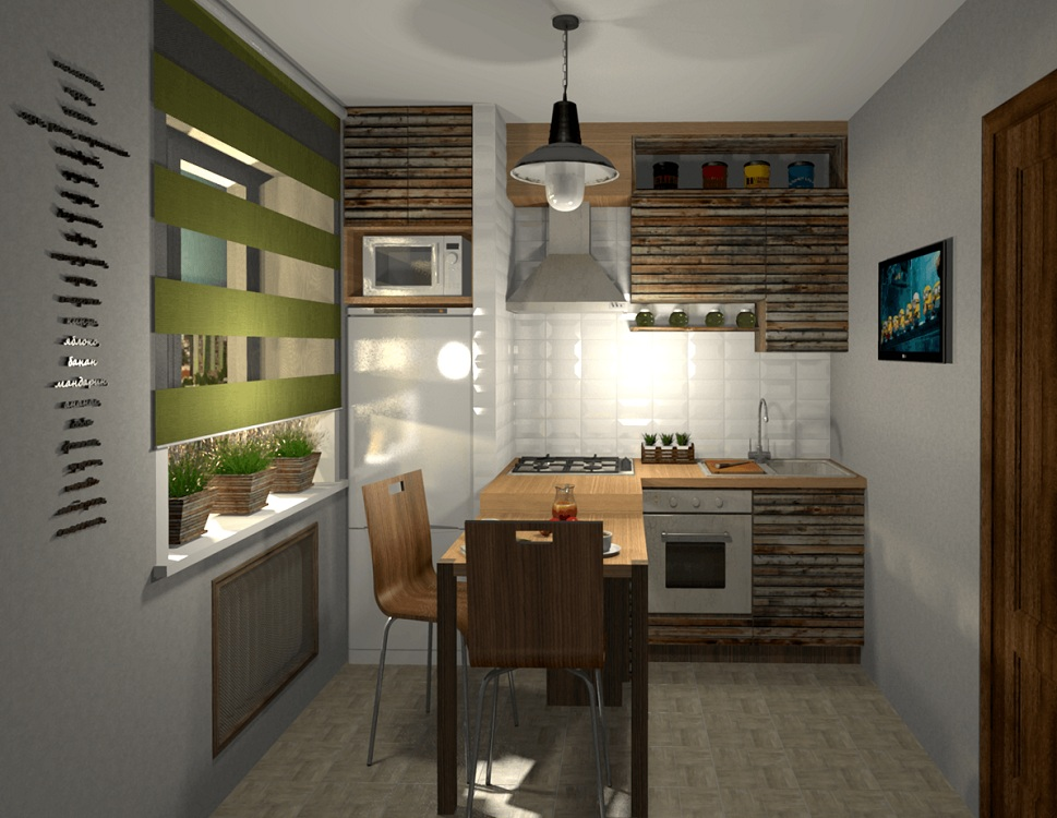 Интерьер кухни 6 м