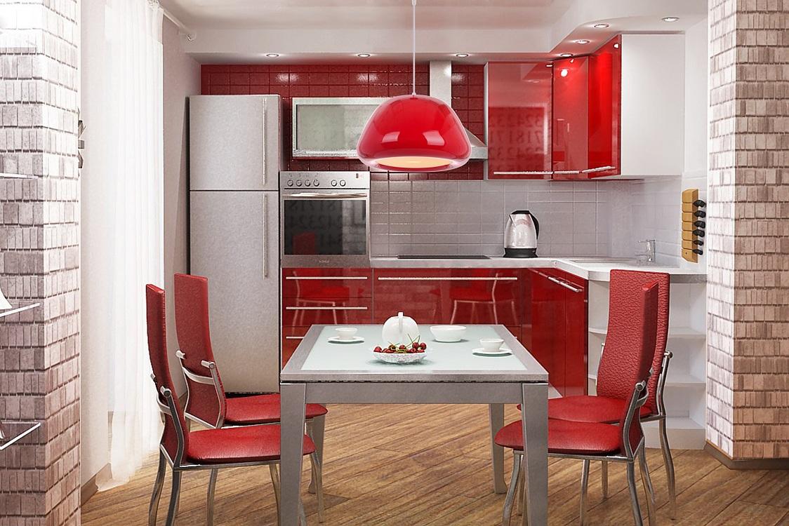 Красная кухня 6 метров