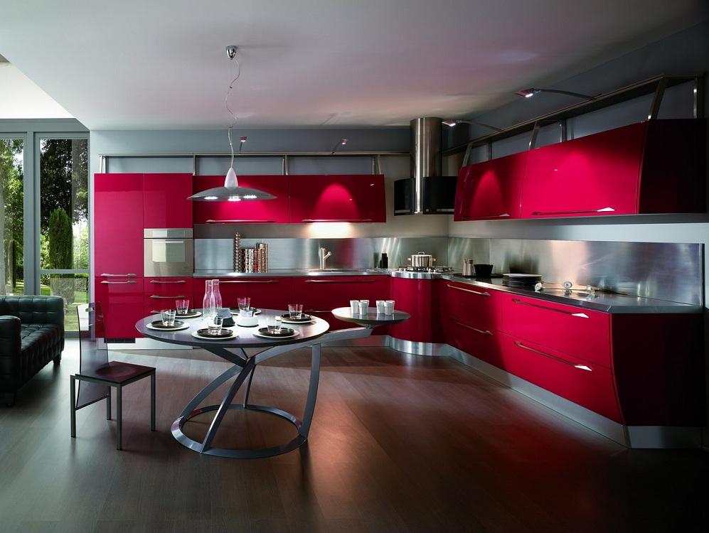 Кухни в красном цвете, с какими цветами сочетается, какой стиль подойдет
