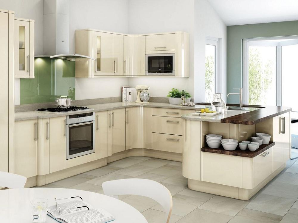 Кухни с северной стороны цвета слоновой кости