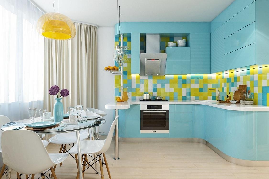 Кухни с восточной стороны голубого цвета
