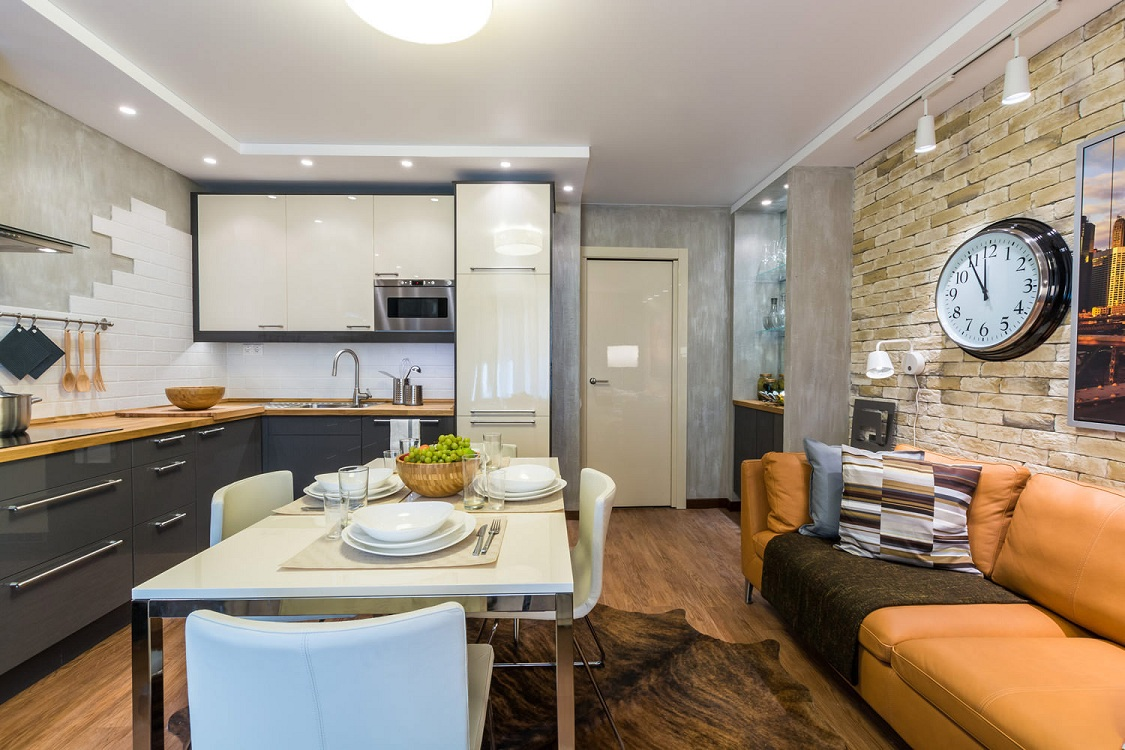 Кухня 14 метров в стиле лофт