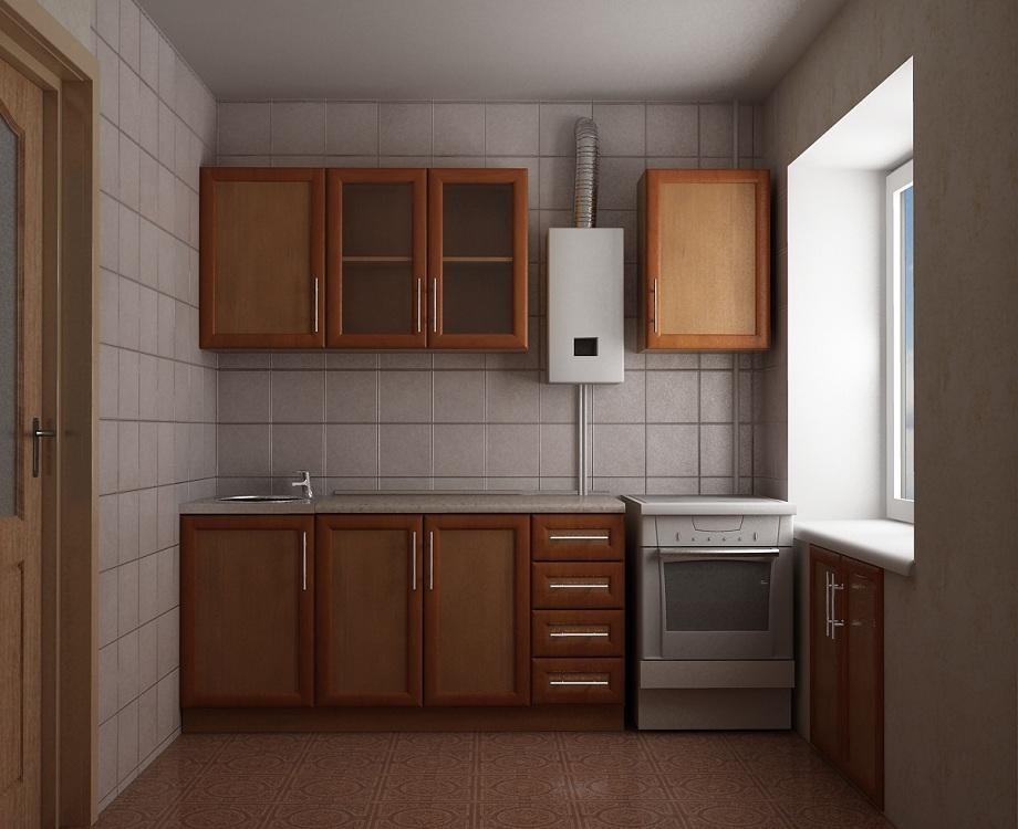Кухня 6 метров с колонкой