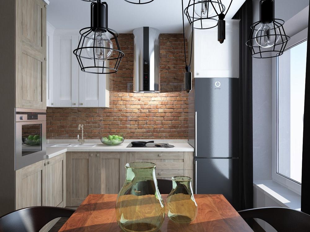 Кухня 6 метров в стиле лофт