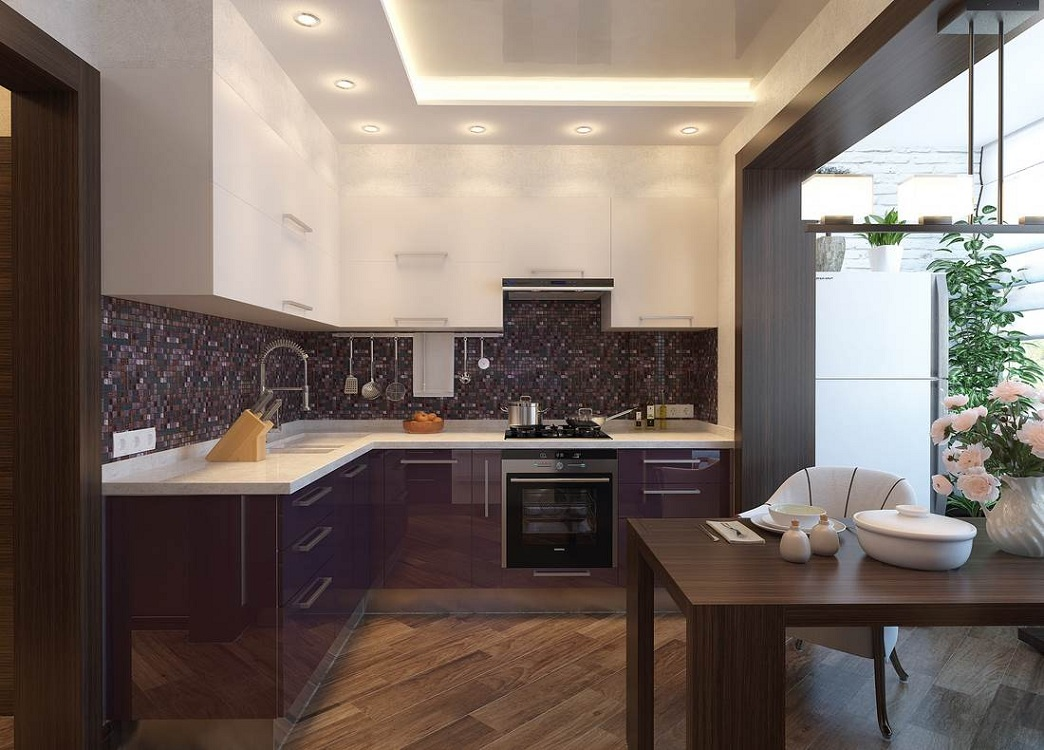 Кухня 7 метров объединена с балконом
