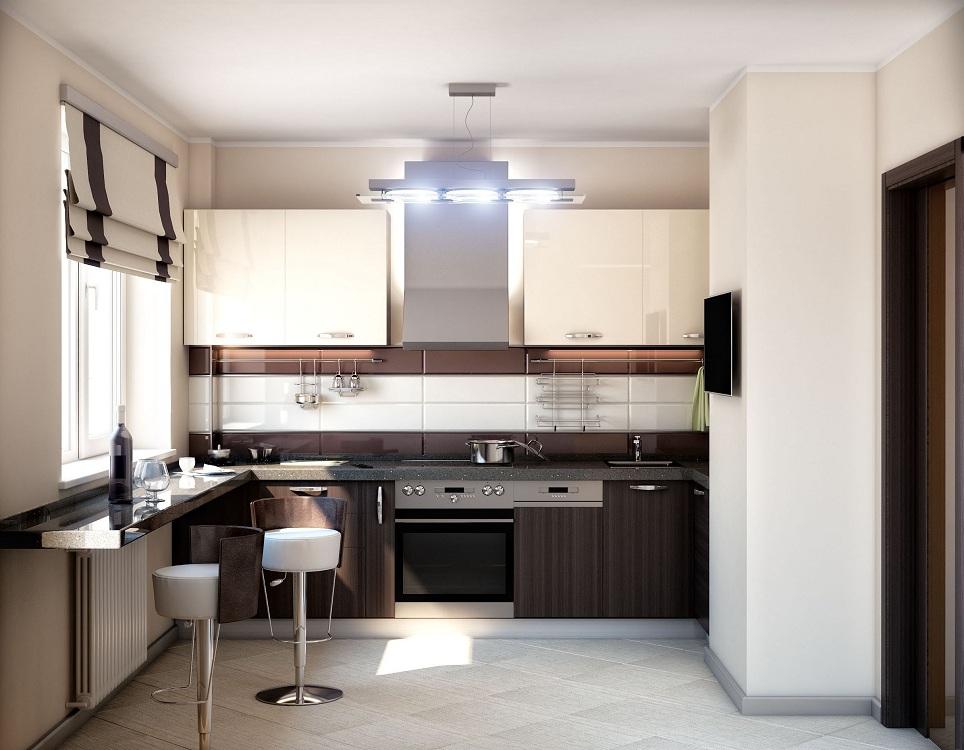 Кухня 7 метров в стиле хай-тек