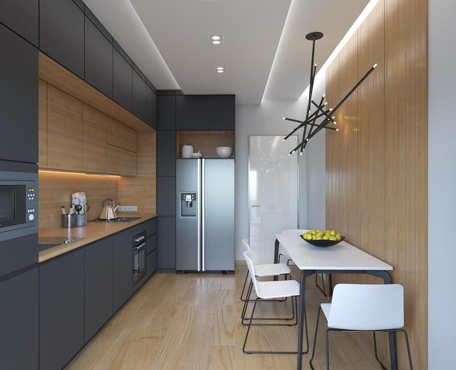 Кухня 9 метров в стиле хай-тек