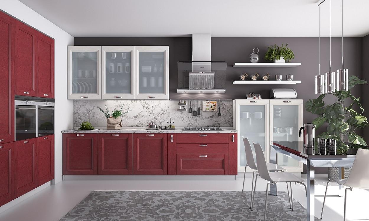 Кухня с фасадами из ламинированного стекла