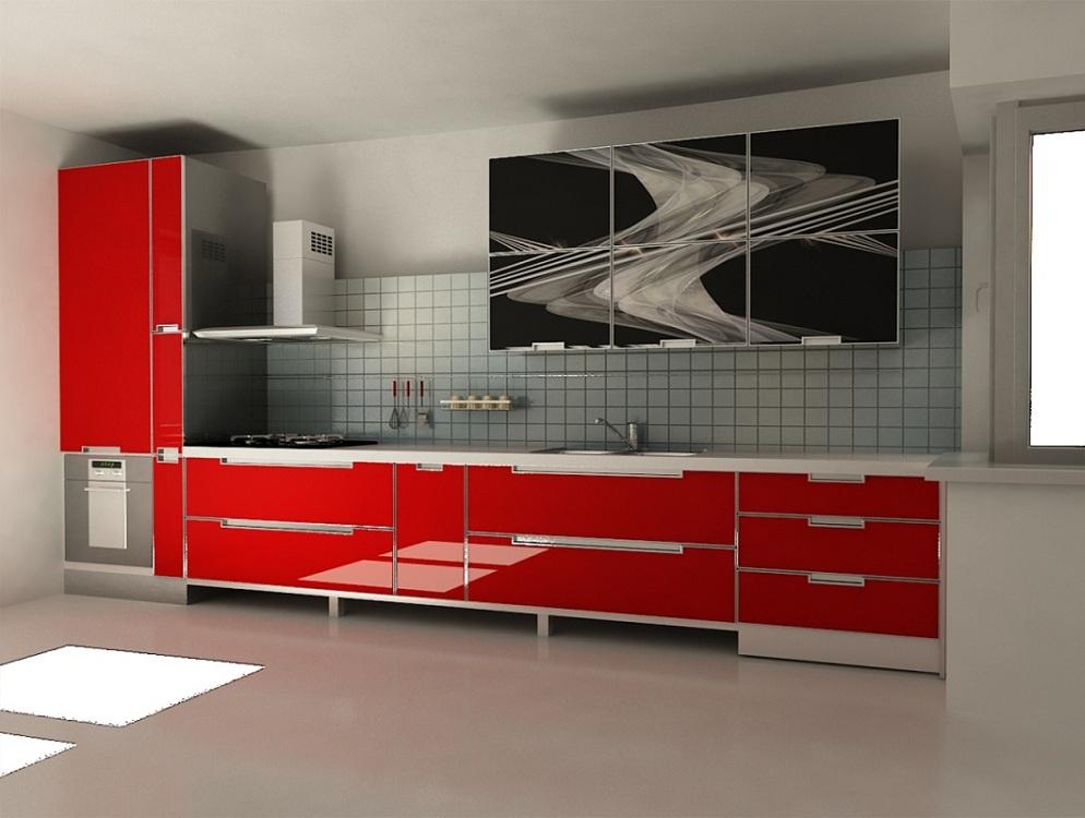 Кухня со стеклянными безрамочными фасадами