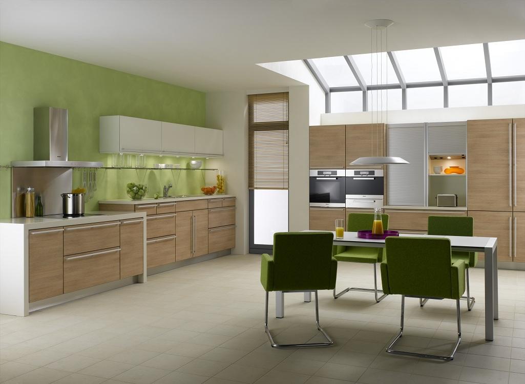 Кухня цвета капучино с оливковым