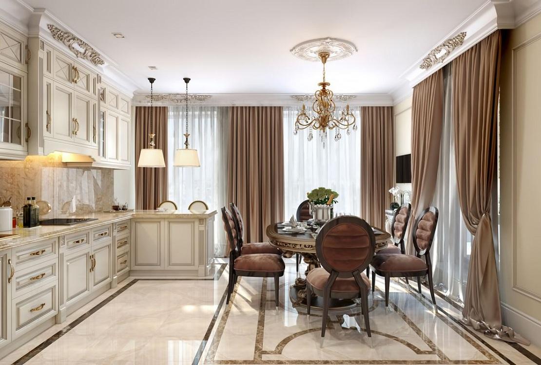 Кухонный гарнитур на классической кухне