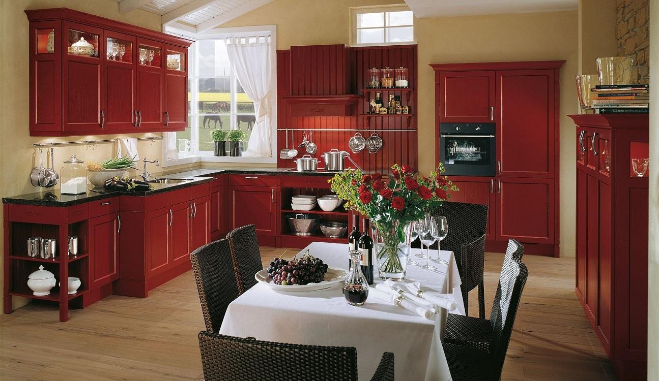 Мебель для красной кухни