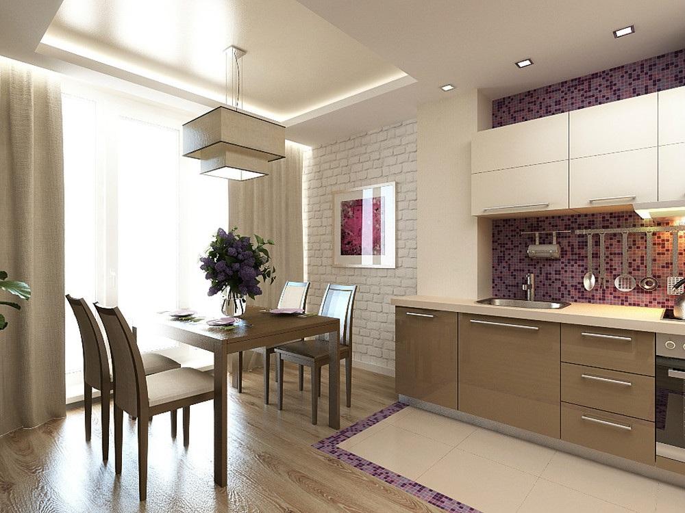 Мебель на кухне цвета капучиноjpg
