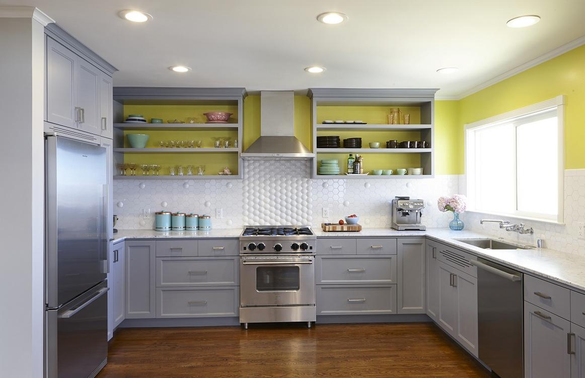 Навесные шкафы для кухни с открытыми полками