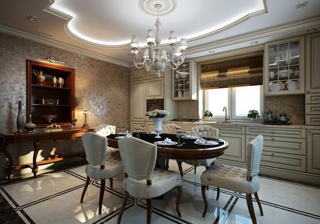 Обеденная зона на кухне в классическом стиле