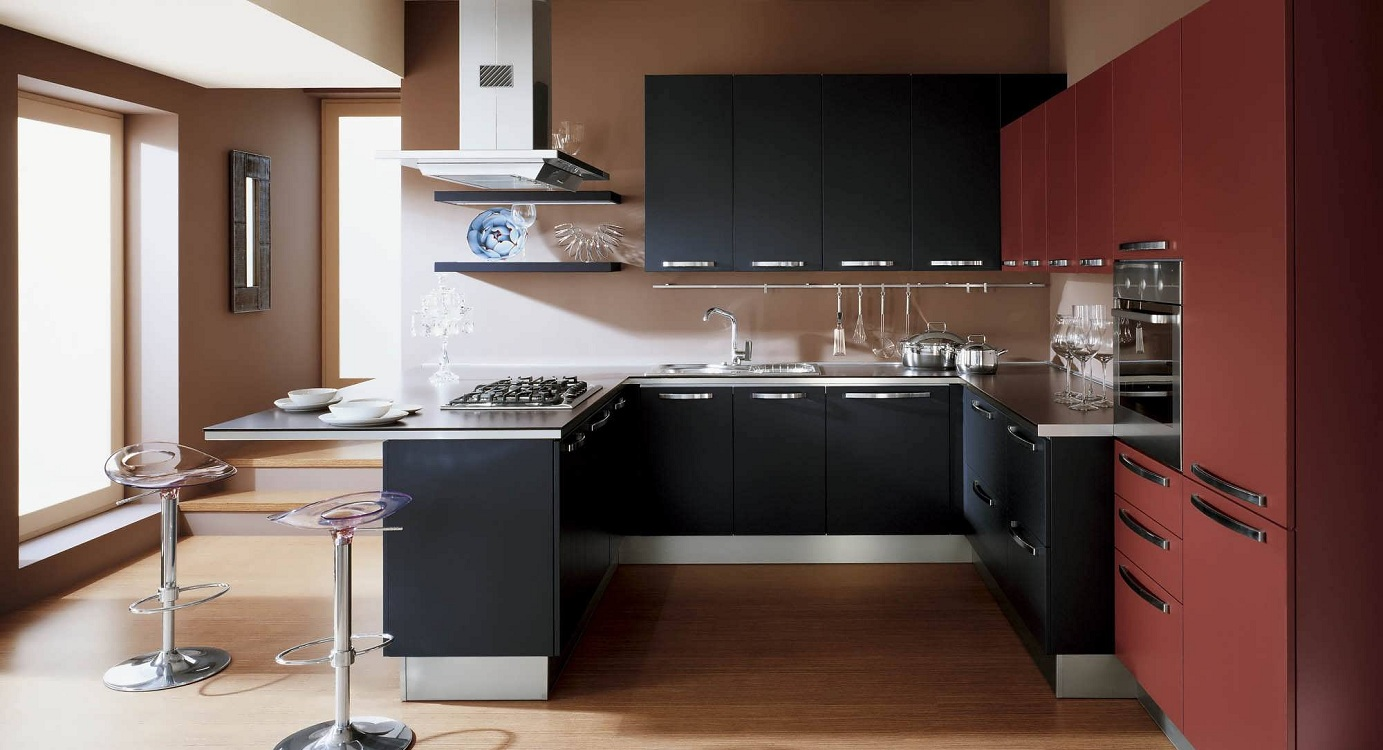 Обои для черно-красной кухни
