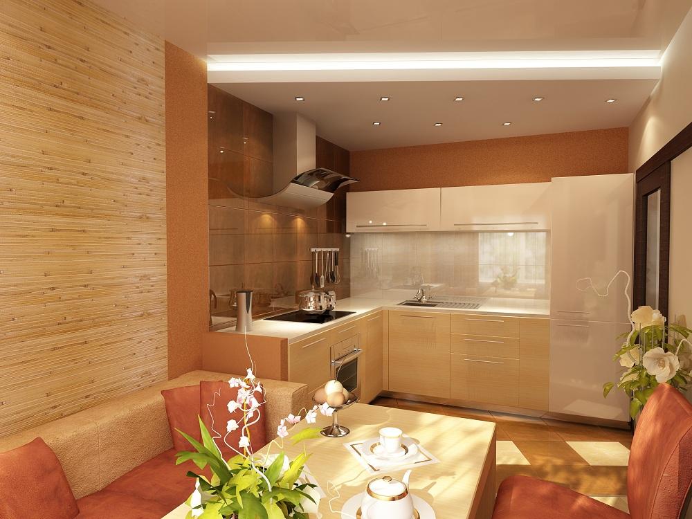 Обои из бамбука для маленькой кухни