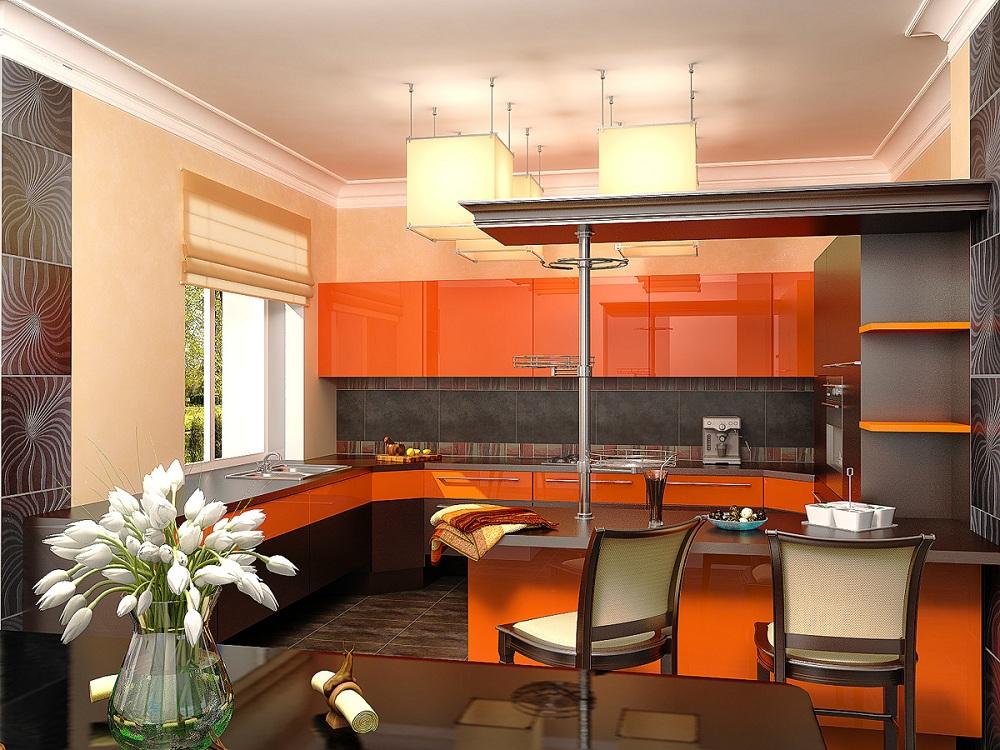Обои на оранжевой кухне