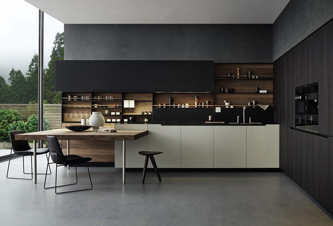Оформление кухни в черном цвете