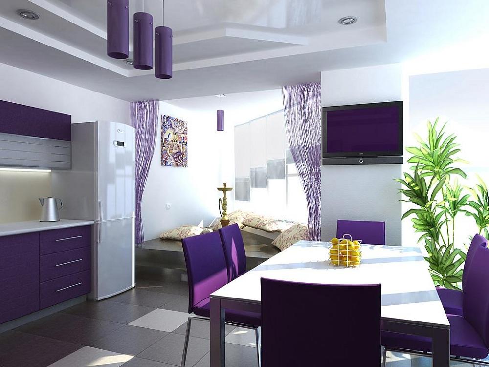 Оформление кухни в фиолетовом цвете