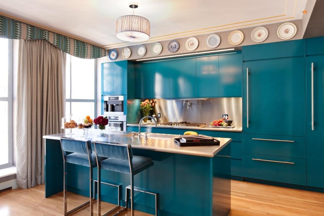 Оформление кухни в голубом цвете