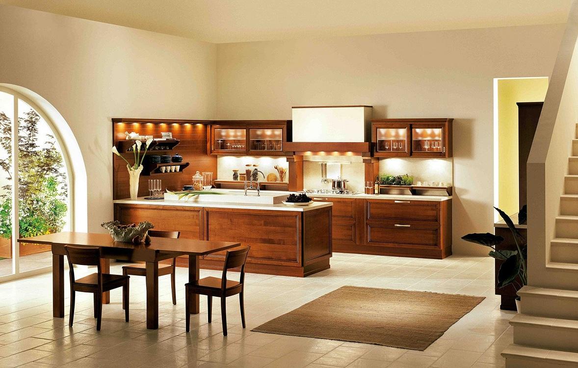 Оформление кухни в коричневом цвете
