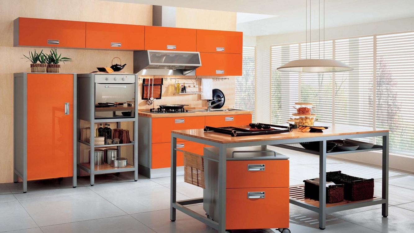 Оформление кухни в оранжевом цвете