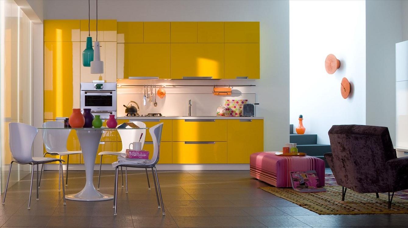 Оформление кухни в желтом цвете