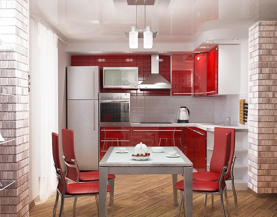 Оформление стен на красной кухне