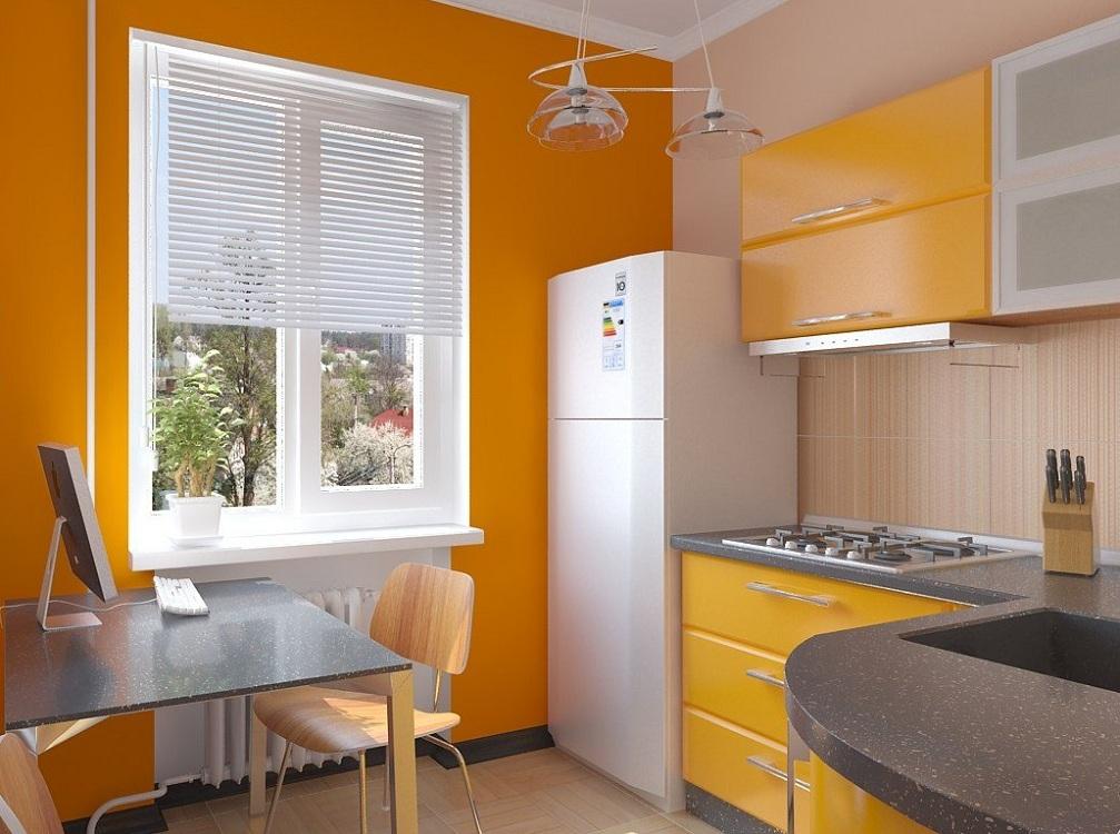 Оранжевая кухня 6 метров
