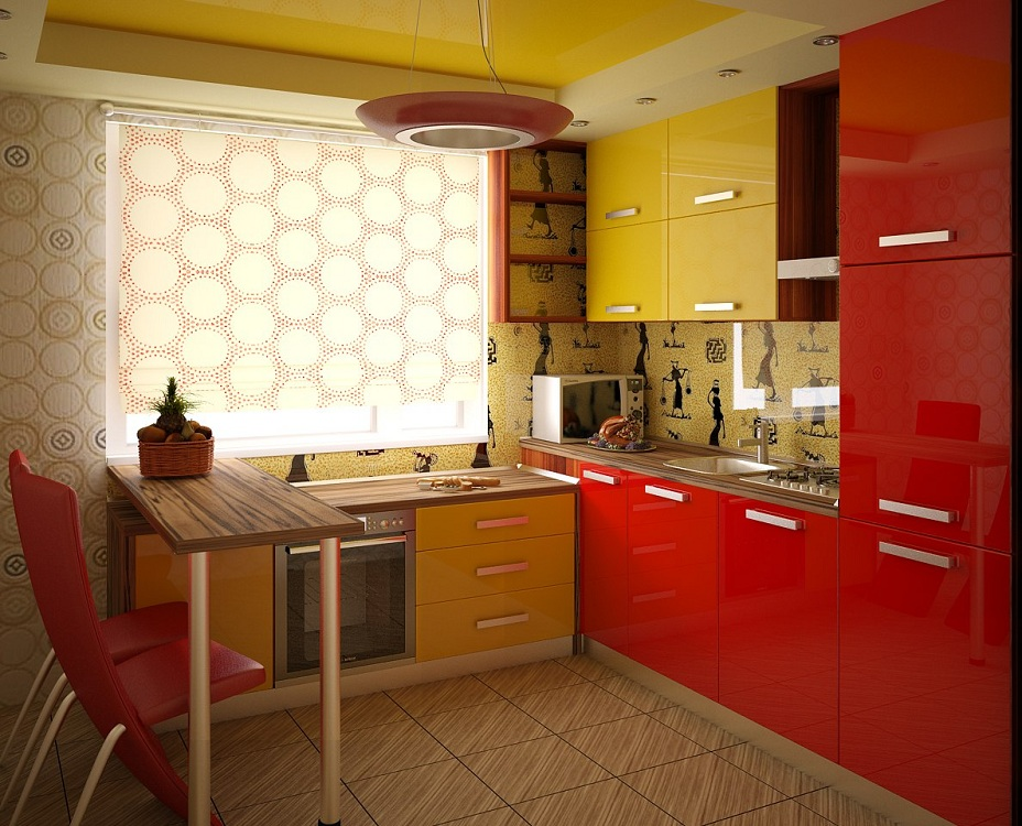 Оранжево-красная кухня