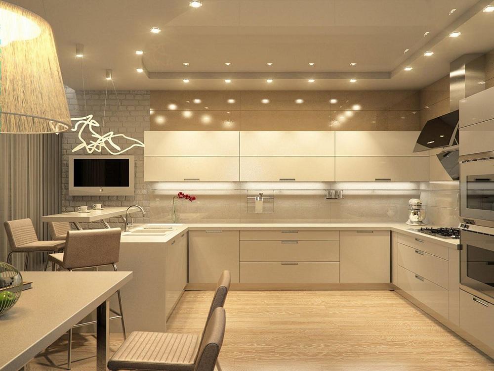 Освещение на кухне цвета капучино