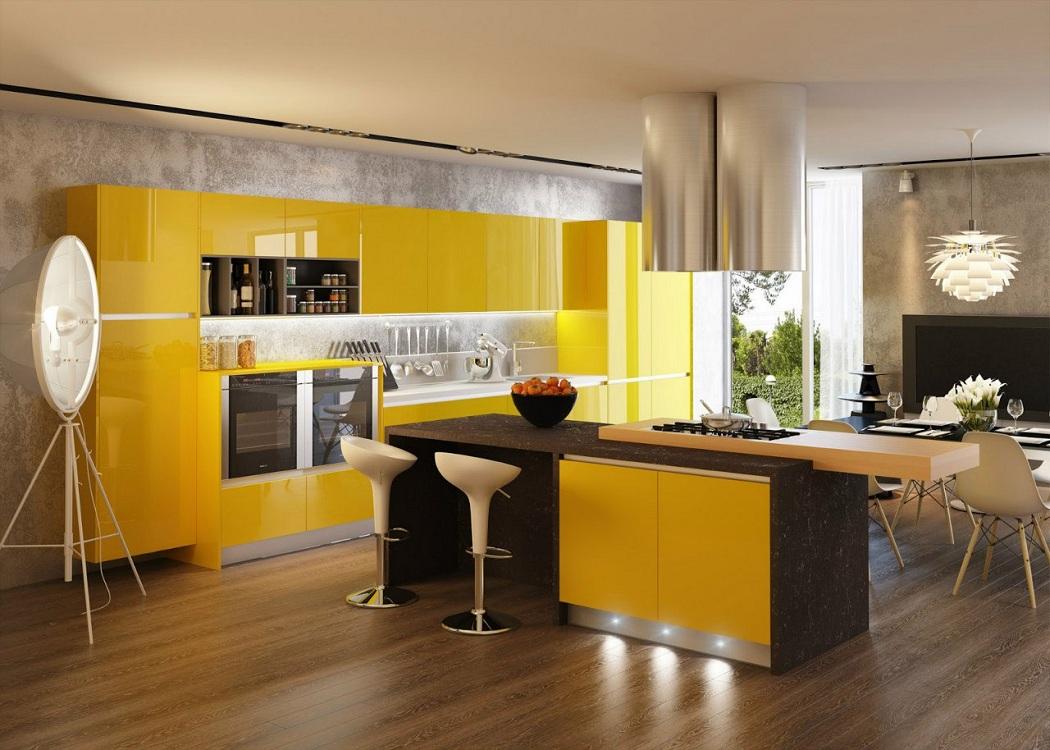 Оттенки желтого на кухне