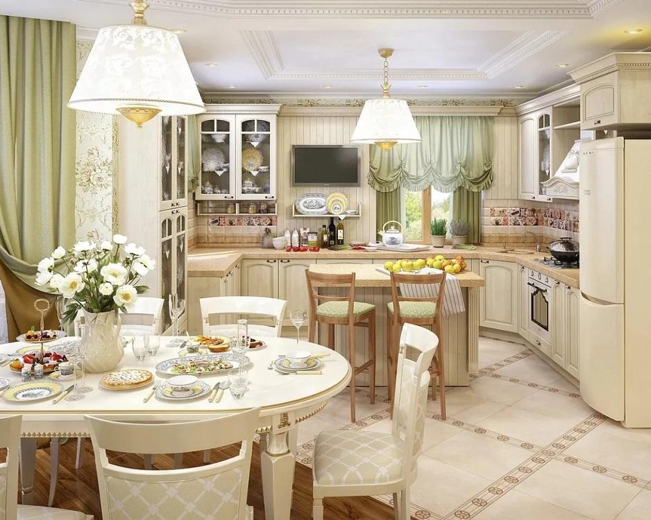 П-образная кухня-гостиная