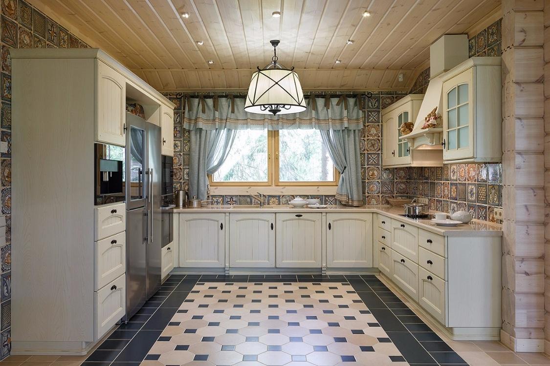 П-образная кухня в стиле прованс