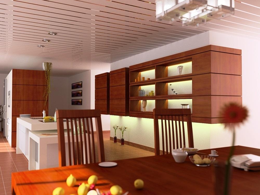 Пластиковый реечный потолок для кухни