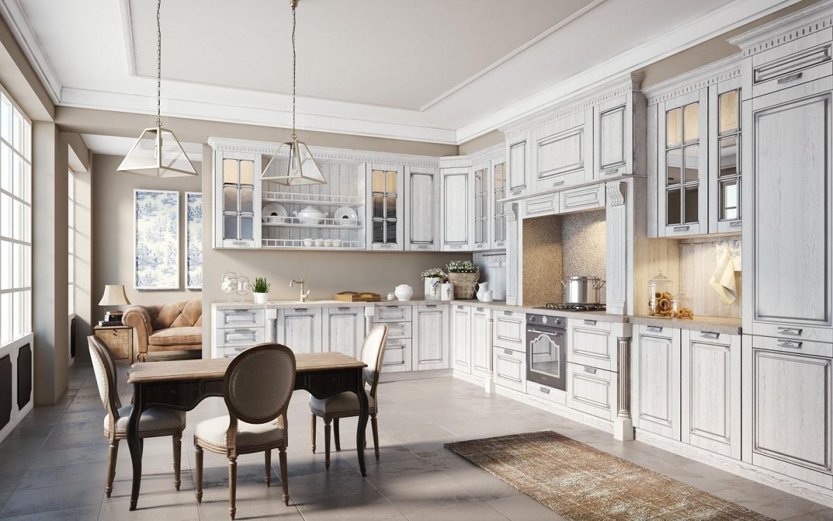 Пол на кухне в классическом стиле