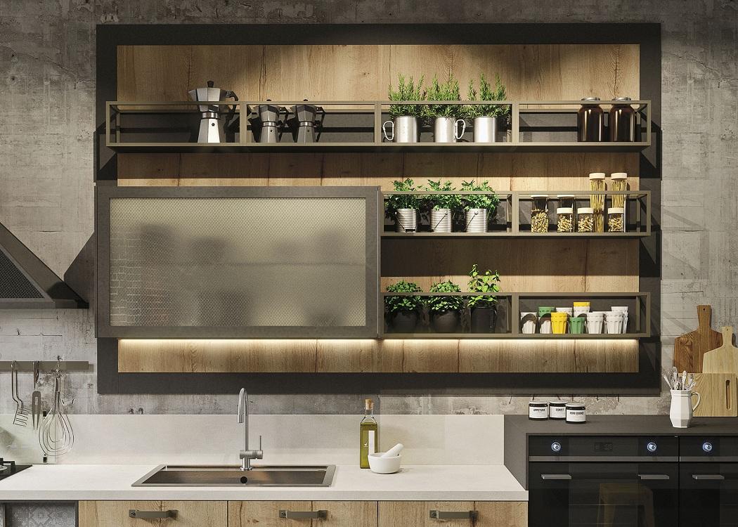 Полки в кухонном гарнитуре, фото в интерьере