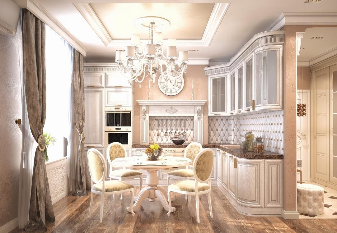 Потолок на кухне в классическом стиле
