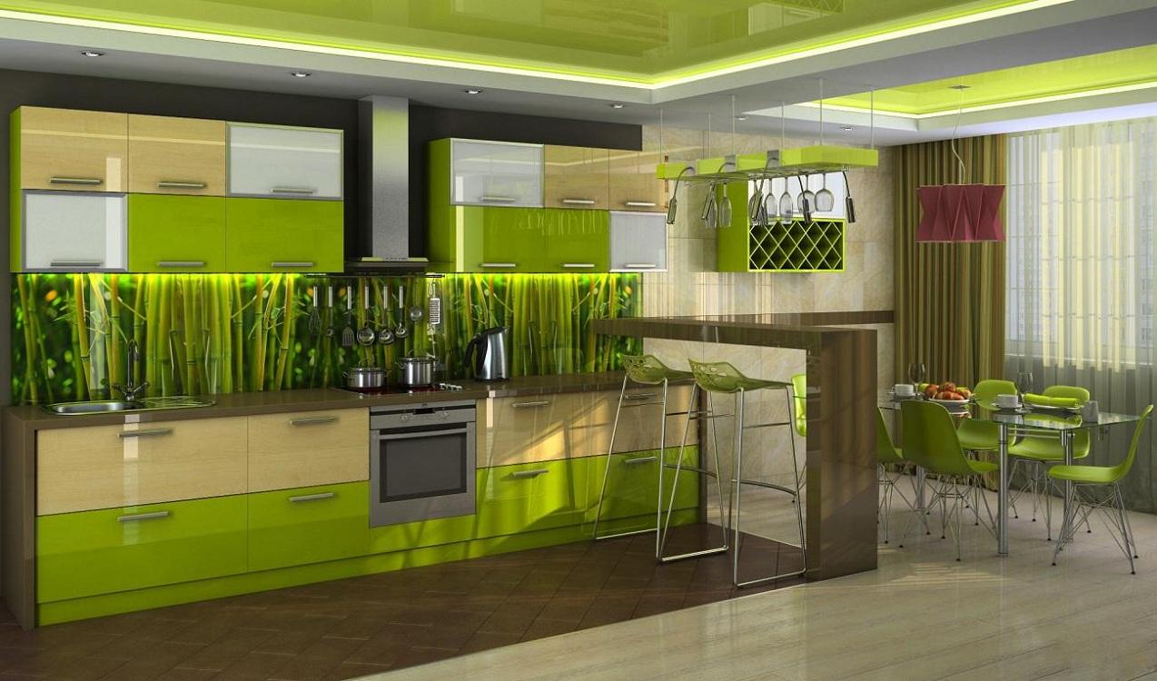 Потолок на салатовой кухне